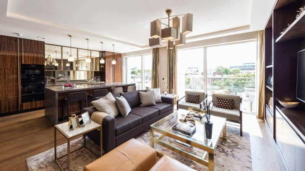Open Plan Living Room Dining Room at Penthouse Apartments at Lansdowne Place