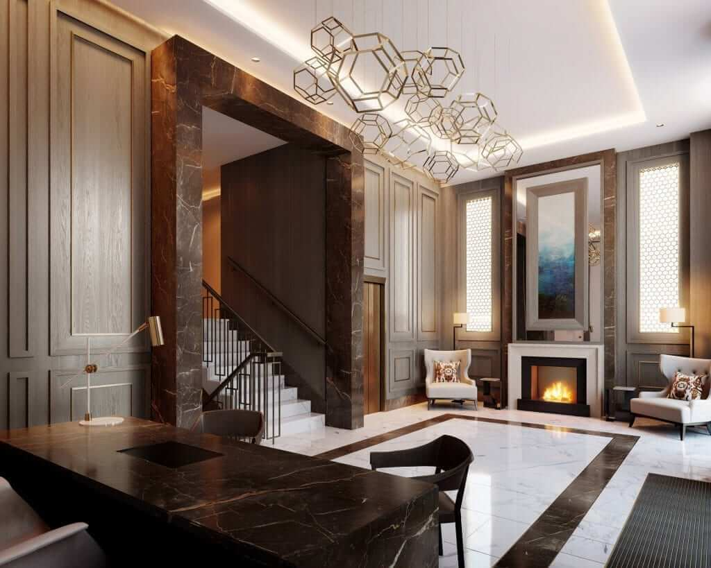 Reception hallway at the residents amenities facility with marble floor and feature lighting