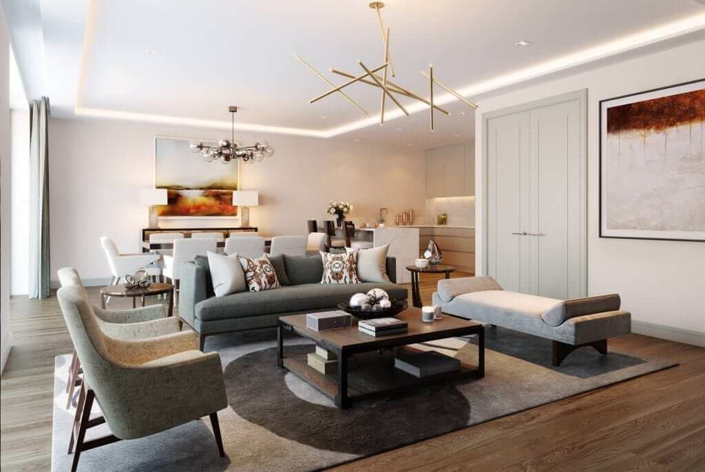 Open plan living and dining rooms designer by interior architects Goddard Littlefair