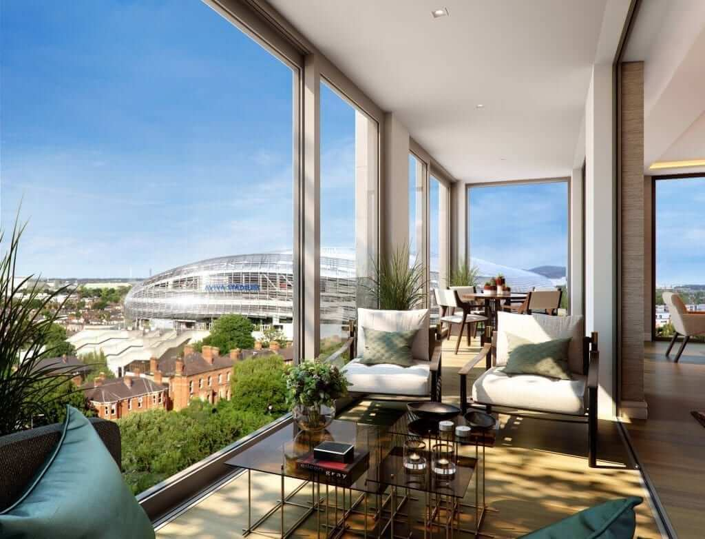 Unique sunroom overlooking Aviva Stadium with furniture selected by interior architects Goddard Littlefair