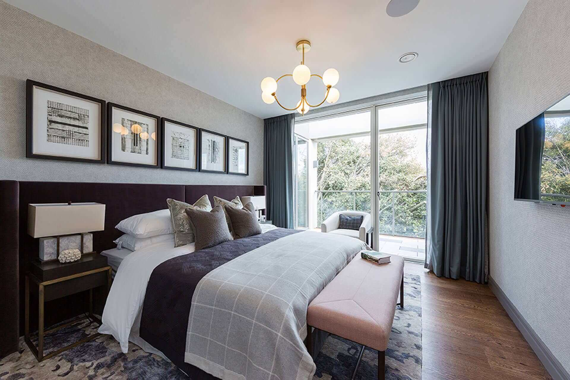 Guest bedroom at the penthouse apartments at Lansdowne Place in prestigious Ballsbridge