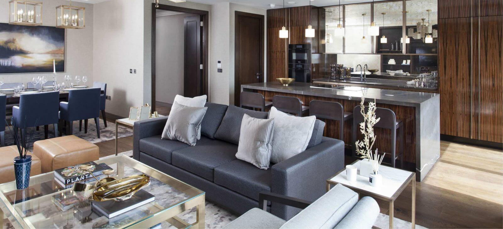 Living dining room in the luxurious penthouse apartments at the prestigious Lansdowne Place development in Ballsbridge