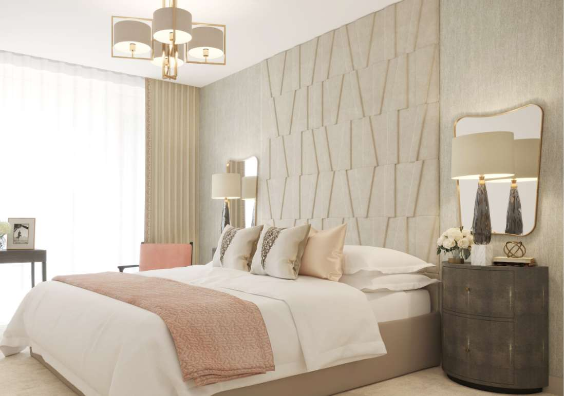 Bedroom design by Sara Cosgrove Interior Design in Duplex Townhouses at Lansdowne Place