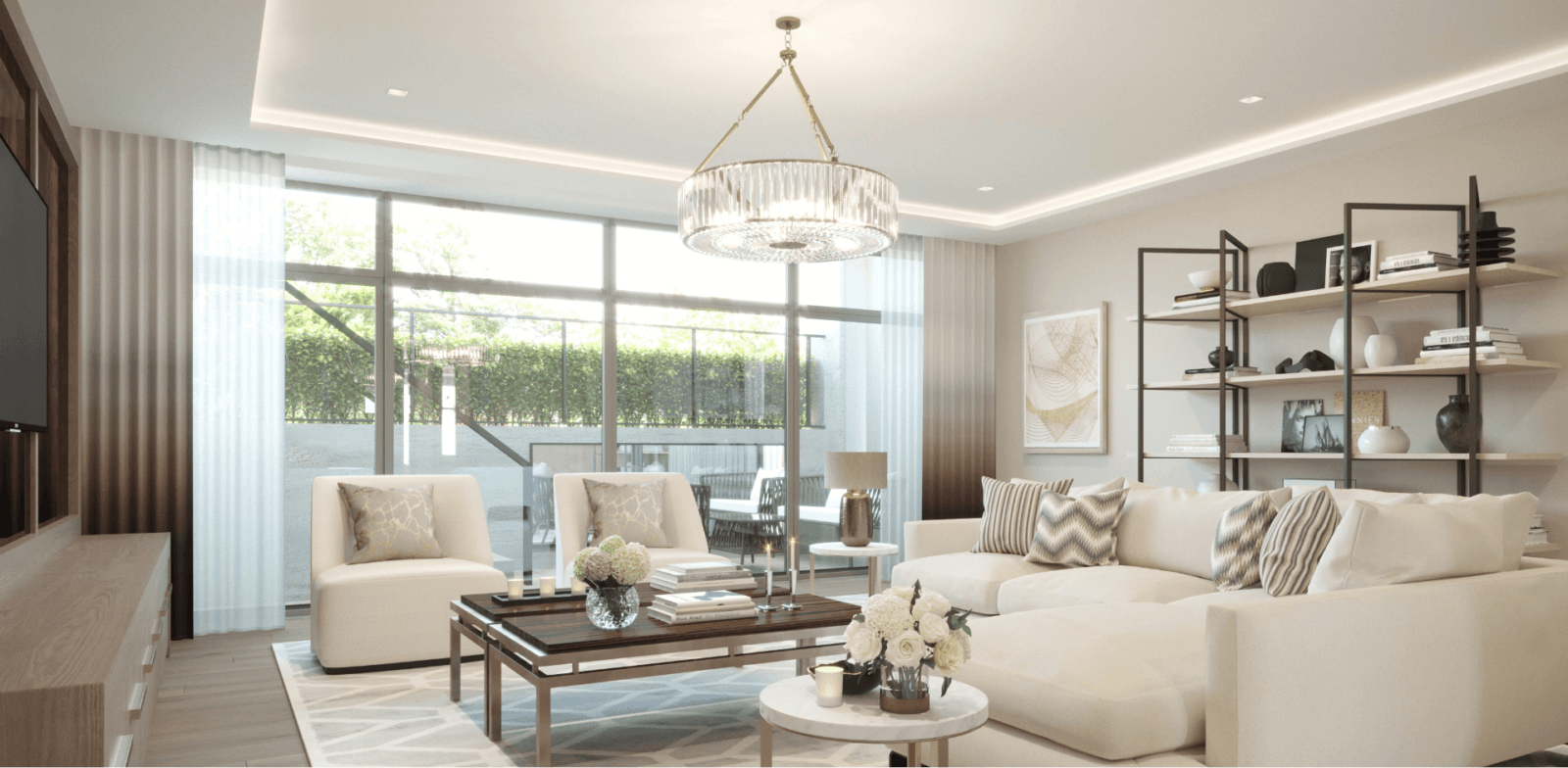 Living room design by Sara Cosgrove Interior Design at the Duplex Townhouses for sale at Lansdowne Place in Ballsbridge