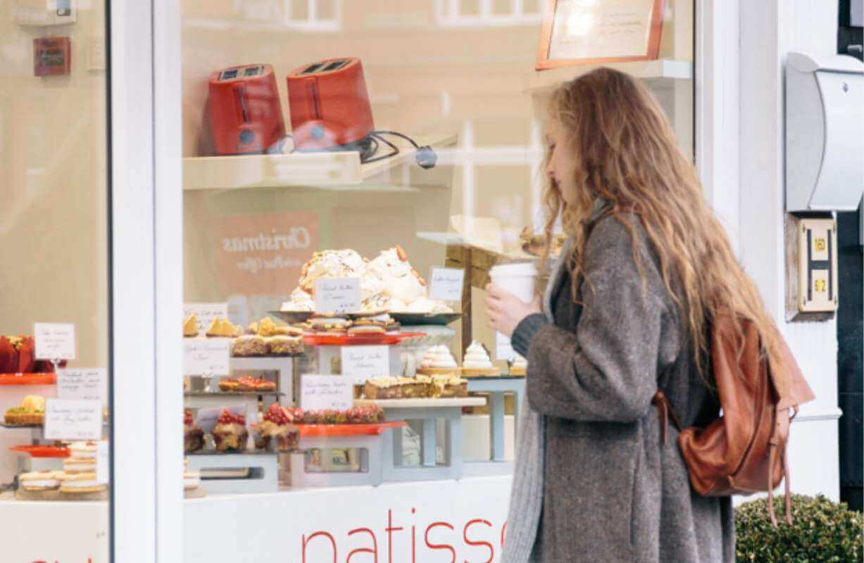 Window shopping at Eathos, a local French style patisserie close to Lansdowne Place