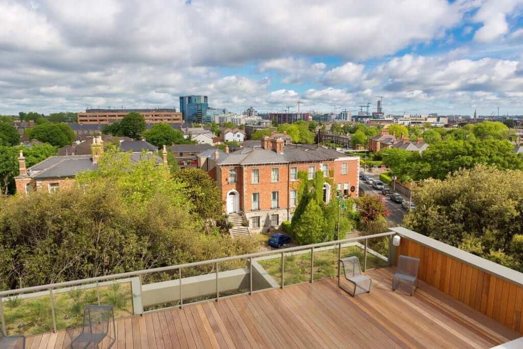 View toward Dublin City Centre from the Penthouse Apartment at Lansdowne Place
