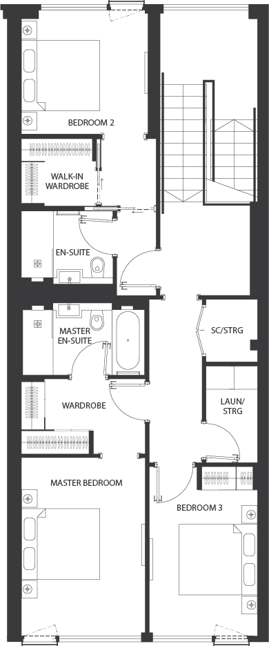 Floorplan for the second floor at the 3 bed townhouse in luxury residential development for sale in Ballsbridge
