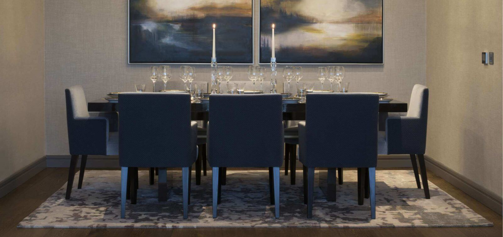 Dining area in the Berkeley Apartments for sale at Lansdowne Place with custom feature lighting by Northern Lights