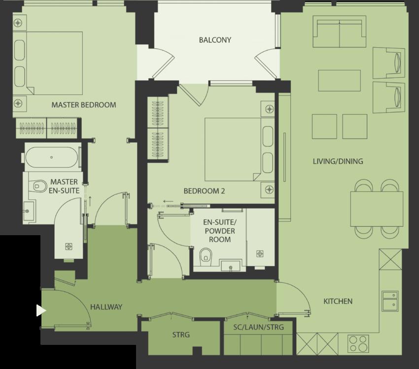 Lansdowne Place | type-2W2 Floor Plan