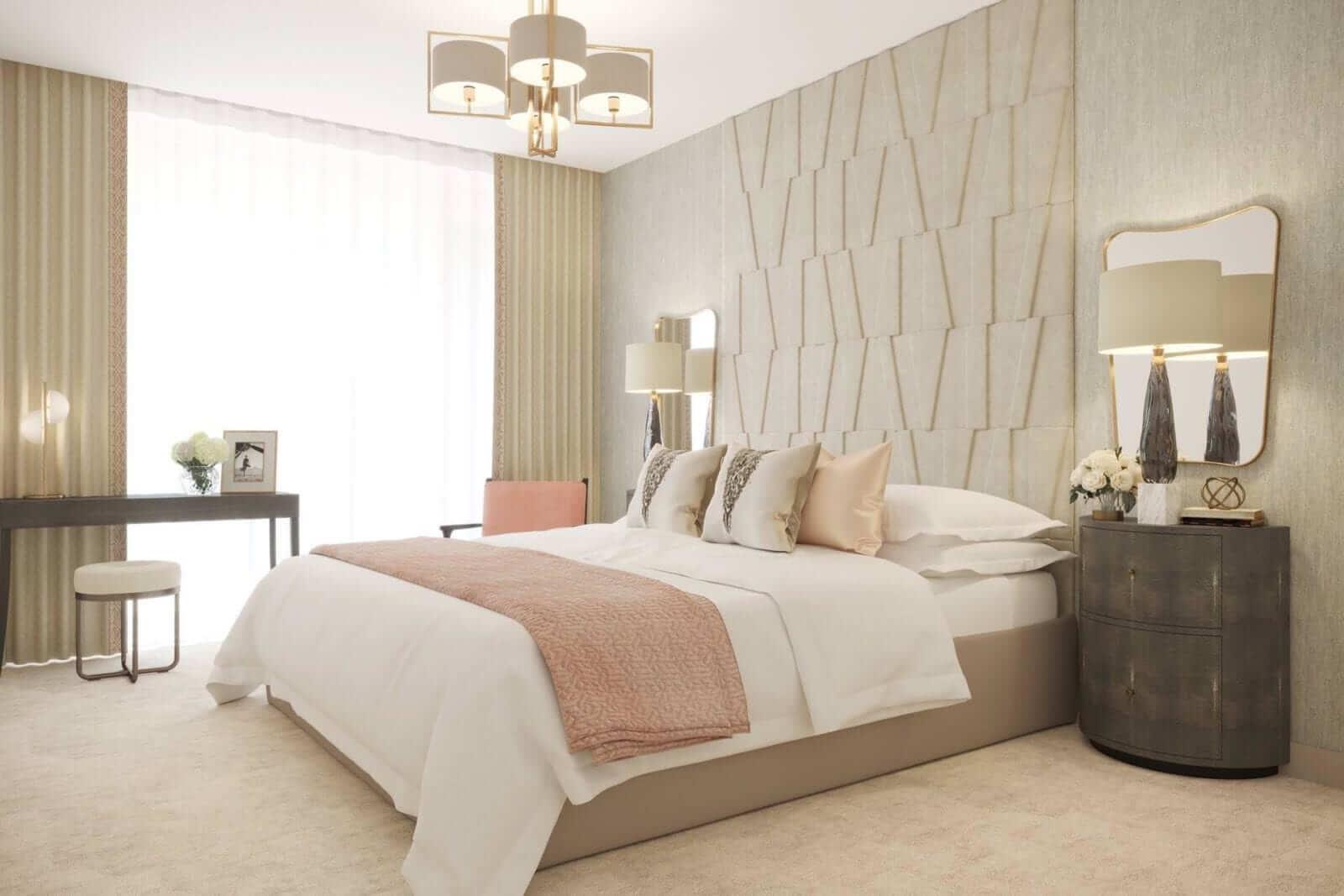 Bedroom design by Sara Cosgrove Interior Design in Duplex Townhouses at Lansdowne Place