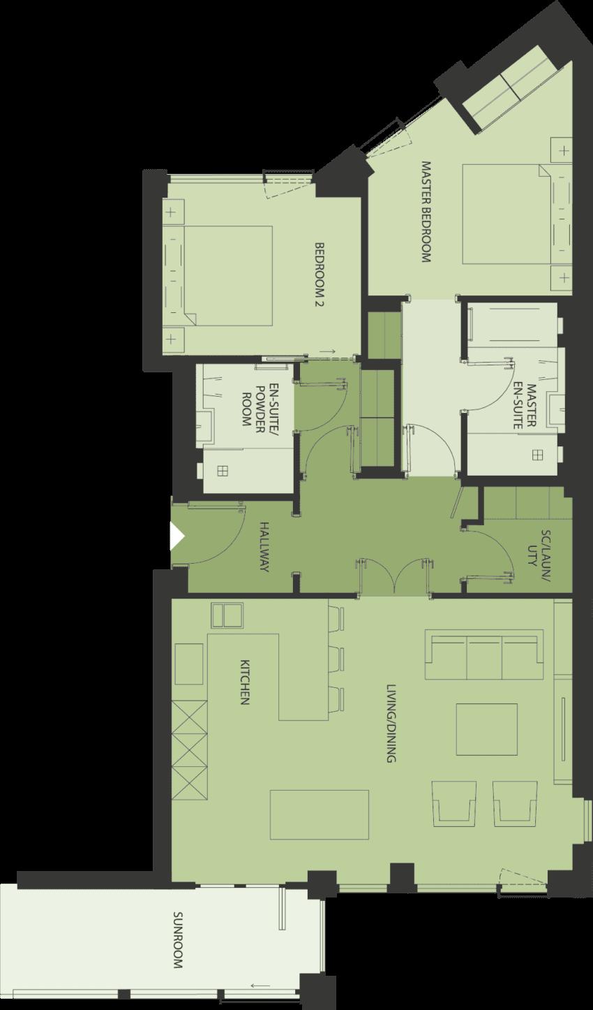 Lansdowne Place | 2U Apartment Floor Plan