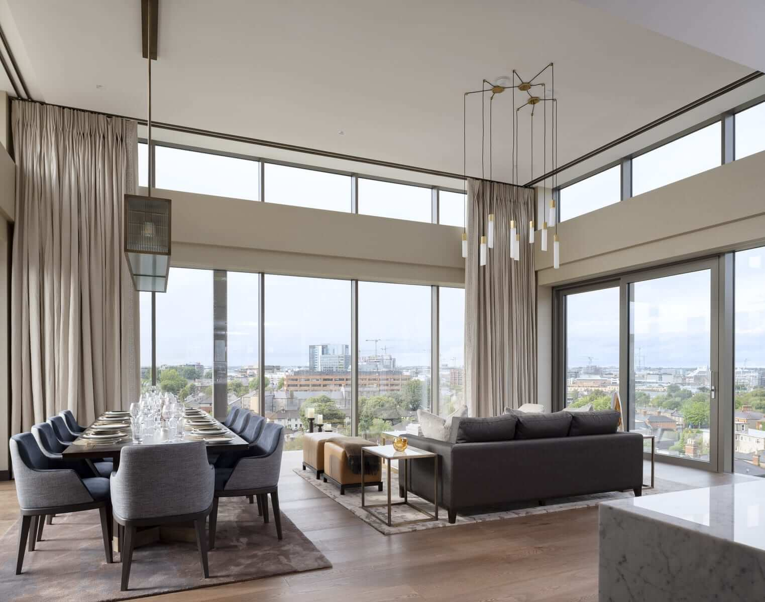 Lansdowne Place | Penthouse Double Height Living Dining Room