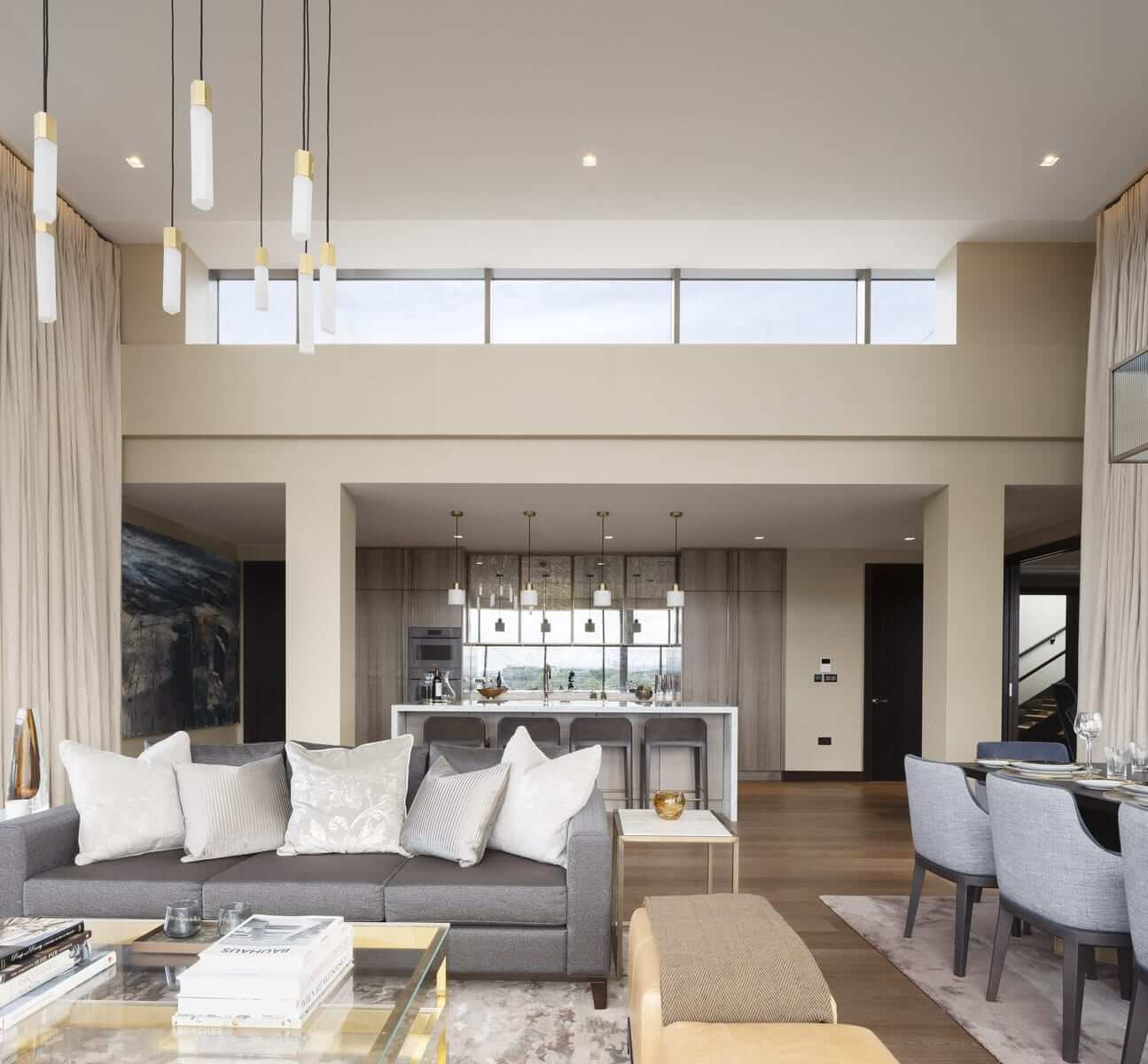 Lansdowne Place | Penthouse Double Height Living Dining and Kitchen